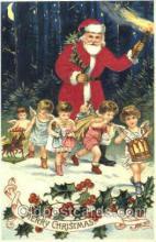 hol000044 - Silk Santa Claus Postcard Postcards