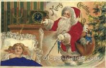 hol000046 - Silk Santa Christmas Postcard Postcards