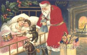 hol000055 - Silk Santa Claus Postcard Postcards