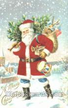 hol000073 - Silk Santa Claus Postcard Postcards