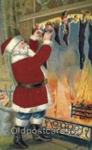 hol000083 - Silk Christmas Santa Claus Postcard Post Card
