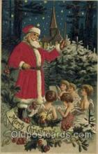 hol000084 - Silk Christmas Santa Claus Postcard Post Card