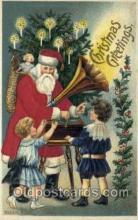 hol000088 - Silk Christmas Santa Claus Postcard Post Card