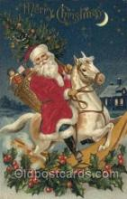 hol000089 - Silk Christmas Santa Claus Postcard Post Card