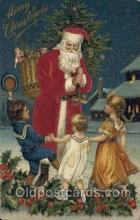 hol000090 - Silk Christmas Santa Claus Postcard Post Card