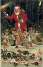 hol000091 - Silk Christmas Santa Claus Postcard Post Card