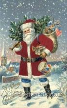 hol000092 - Silk Christmas Santa Claus Postcard Post Card