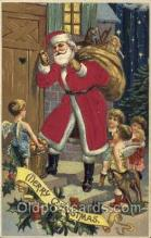 hol000094 - Silk Christmas Santa Claus Postcard Post Card