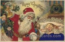 hol000095 - Silk Christmas Santa Claus Postcard Post Card