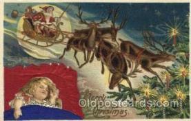 hol000096 - Silk Christmas Santa Claus Postcard Post Card