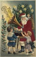 hol000097 - Silk Christmas Santa Claus Postcard Post Card