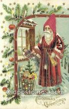 hol000099 - Silk Santa Claus Old Vintage Antique Postcard Post Card