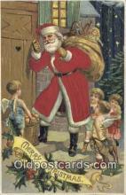hol000101 - Silk Santa Claus Old Vintage Antique Postcard Post Card