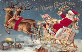 hol000102 - Santa Claus Postcard Old Vintage Christmas Post Card