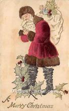 hol000107 - Santa Claus Postcard Old Vintage Christmas Post Card