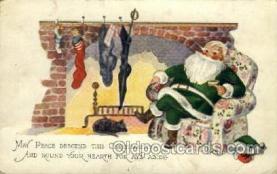 hol000304 - Green Suit Santa Claus Postcard Post Cards
