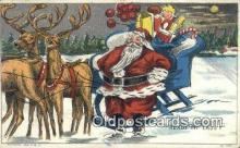 hol000600 - Santa Claus Old Vintage Antique Postcard Post Card