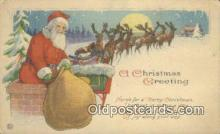 hol000617 - Santa Claus Old Vintage Antique Postcard Post Card