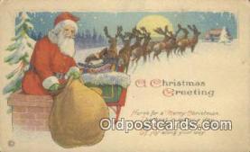 hol000617 - Santa Claus Old Vintage Antique Postcard Post Card