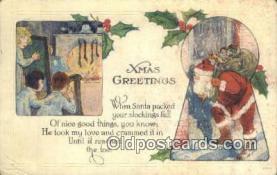 hol000622 - Santa Claus Old Vintage Antique Postcard Post Card