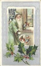 hol000672 - Green Suit Santa Claus Old Vintage Antique Postcard Post Card
