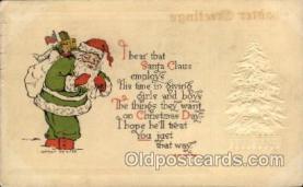 hol002120 - Green Robe, Christmas Santa Claus Postcard Postcards