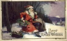 hol002938 - Santa Claus, Christmas, Old Vintage Antique Postcard Post Card