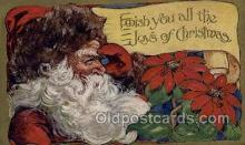 hol002950 - Santa Claus, Christmas, Old Vintage Antique Postcard Post Card