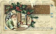 hol003251 - Green Suit Christmas, Santa Claus Postcard Post card