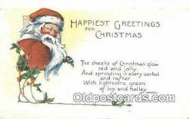 hol003409 - Santa Claus Postcard, Chirstmas Post Card Old Vintage Antique Carte, Postal Postal
