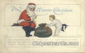 hol003423 - Santa Claus Postcard, Chirstmas Post Card Old Vintage Antique Carte, Postal Postal