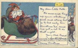 hol003424 - Santa Claus Postcard, Chirstmas Post Card Old Vintage Antique Carte, Postal Postal