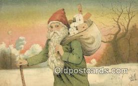 hol003428 - Santa Claus Postcard, Chirstmas Post Card Old Vintage Antique Carte, Postal Postal