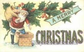 hol003431 - Santa Claus Postcard, Chirstmas Post Card Old Vintage Antique Carte, Postal Postal