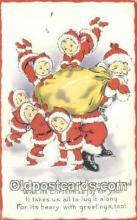 hol003501 - Santa Claus Postcard, Chirstmas Post Card Old Vintage Antique Carte, Postal Postal