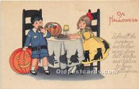 hol011042 - Halloween Postcard Old Vintage Post Card