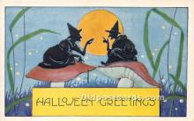 hol011046 - Halloween Postcard Old Vintage Post Card