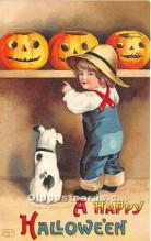 hol011129 - Halloween Postcard Old Vintage Antique Postcard Post Card