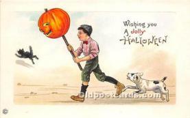 hol011155 - Halloween Postcard Old Vintage Antique Postcard Post Card