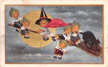 hol011201 - Halloween Post Card Old Vintage Antique, Witches, Black Cat