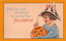 hol011203 - Halloween Post Card Old Vintage Antique, Pumpkin