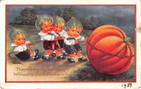 hol011207 - Halloween Post Card Old Vintage Antique, Pumpkin