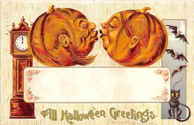 hol011215 - Halloween Post Card Old Vintage Antique, Pumpkin