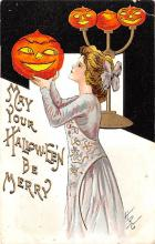 hol012011 - Halloween Post Card Old Vintage Antique