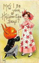 hol012043 - Halloween Post Card Old Vintage Antique