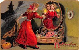 hol012049 - Halloween Post Card Old Vintage Antique
