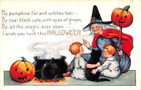 hol012091 - Halloween Post Card Old Vintage Antique
