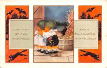 hol012169 - Halloween Post Card Old Vintage Antique