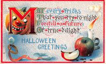 hol012189 - Halloween Post Card Old Vintage Antique