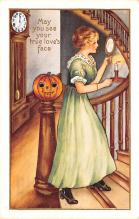 hol012191 - Halloween Post Card Old Vintage Antique